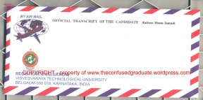 VTU Official Transcript Envelope Side 1